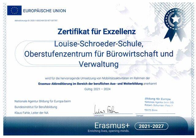 Zertifikat für Exzellenz - Erasmus-Akkreditierung 2021 - 2024