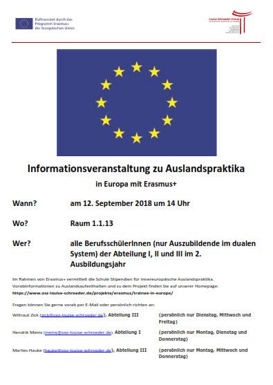 Informationsveranstaltung für Auslandspraktika am 12. September 2018