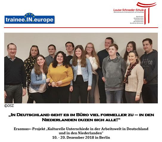 """Erasmus+-Projekt """"Kulturelle Unterschiede in der Arbeitswelt in Deutschland und in den Niederlanden"""""""