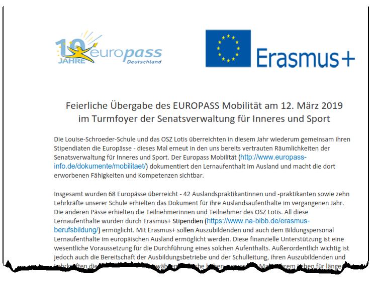 Feierliche Übergabe des EUROPASS Mobilität 2019
