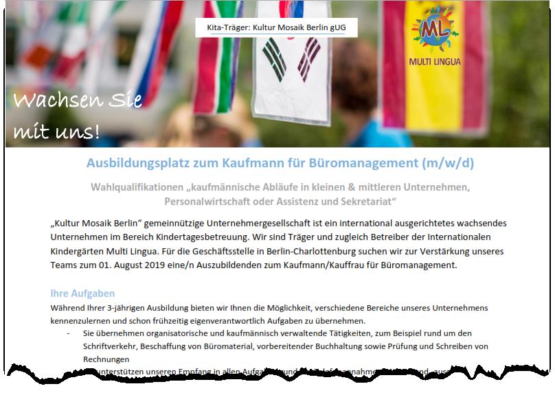 Kultur Mosaik Berlin Kaufleute Für Büromanagement 2019 Louise
