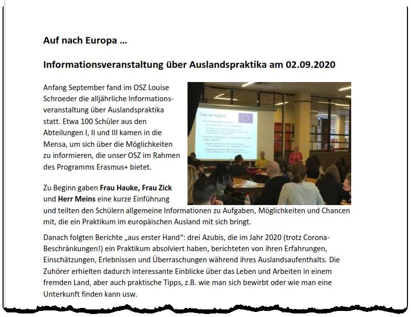 Bericht über die Infoveranstaltung zu Auslandspraktika