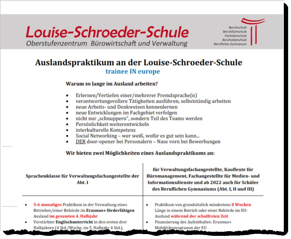 Auslandspraktikum an der Louise-Schroeder-Schule