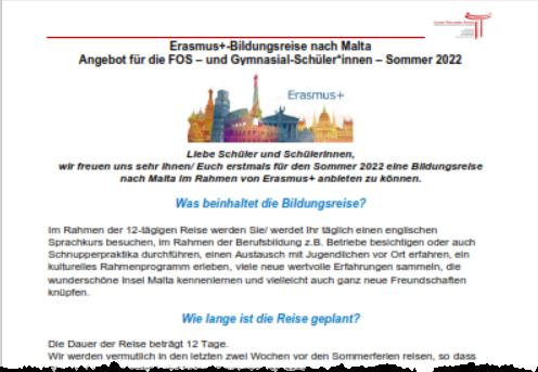 Bildungssprachreise mit Erasmus+ für Fachoberschule und Gymnasium